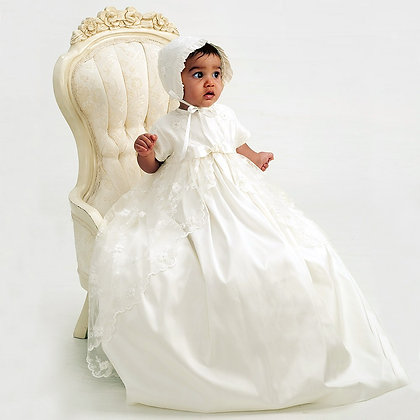 Sarah Louise Ivory Silk and Lace Ceremony Gown with Bonnet