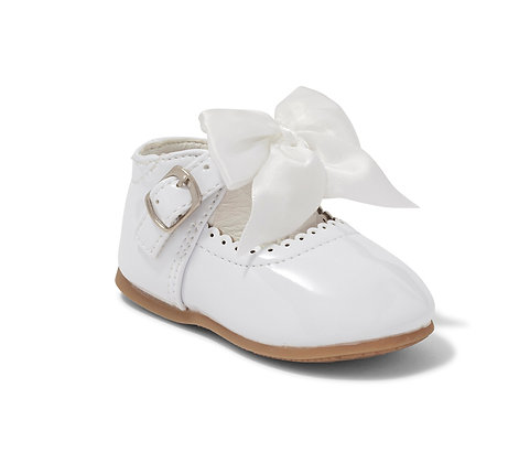Baby White Bow Shoe hard sole