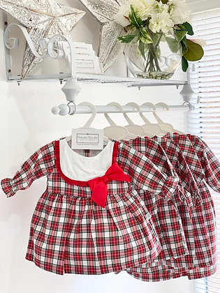 Baby Girl White & Red Tartan  Dress