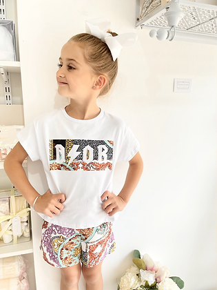 Girls Dior Inspired Shorts & Tee Set