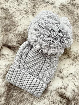 Unisex Baby Knit Pom Pom Hat - GREY