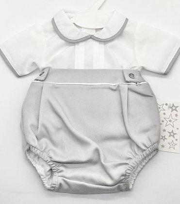 Boys shirt  set 1m- 18m  - WHITE /GREY