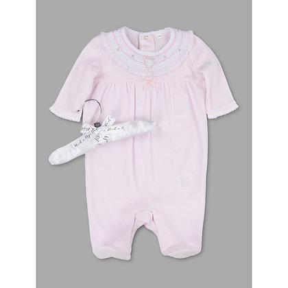 Baby Smock Velour heart  Sleepsuit NB-9M - Unisex