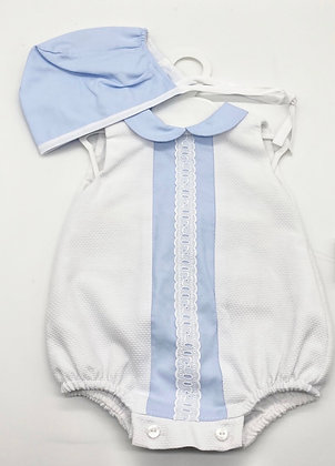 Boys Romper  set - WHITE /BLUE