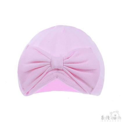 Pink Cotton Turban Bow Hat 0-6M