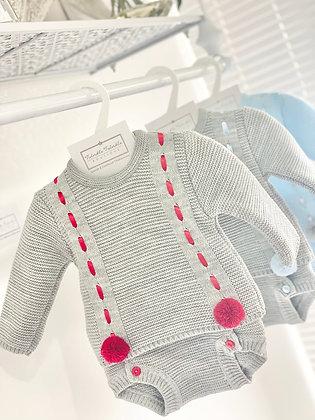 Boys Knit Set Grey with Red Pom Pom