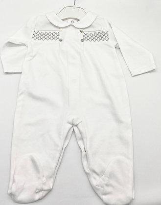 Unisex Smock Babygrow- WHITE/GREY