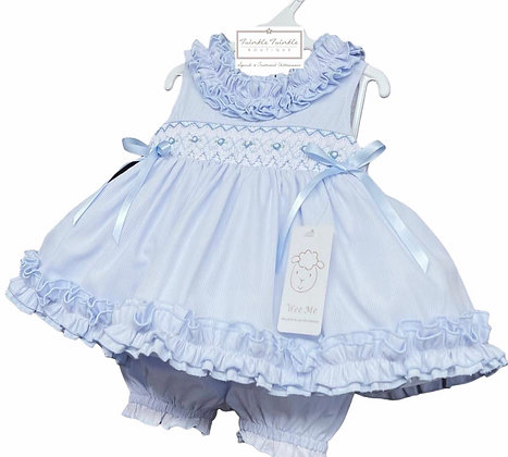 Smock Frill Dress & Bloomers set - BABY BLUE