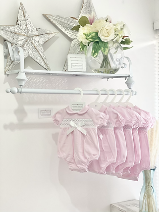 Baby Girl  Pink Romper with Grey Smock Detail