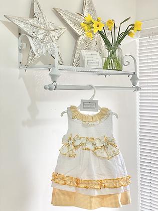 Del Sur - Girls Lemon & White Dress