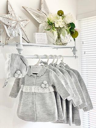 Girls Pom Pom Knit Coat & Bonnet - GREY
