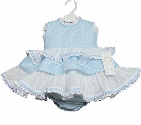Baby Girls Polka Dot Puffball  Dress & Pants set - BLUE