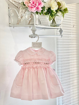 Sonata - Pink Puffball Smocked Dress with Pockets