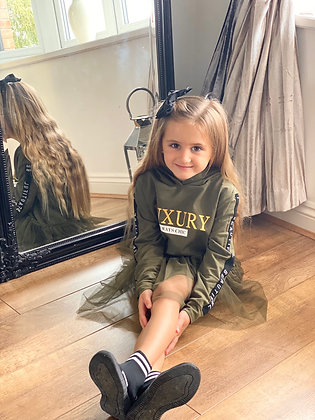 Girls Fashion Loungewear Dress - KHAKI GREEN