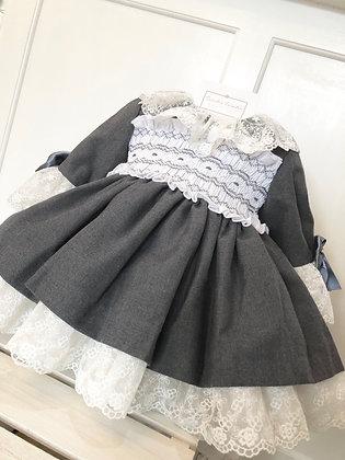 Sonata - Smocked Puffball Lace Dress - GREY