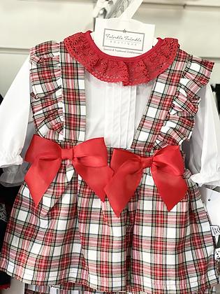 Baby Girls Red /White Tartan skirt and Frill Shirt set