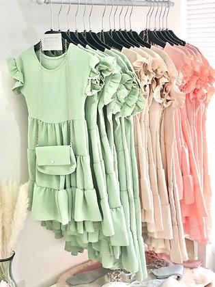 Girls Dress & Matching Bag  4-14yrs - Sage Green