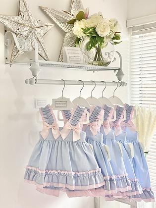 Linen Dress Set-BLUE/PINK
