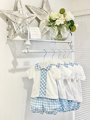 Baby Boy Blue / White Check Bloomer Shorts Set