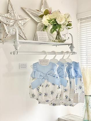 Baby Girl Rose Romper - BLUE
