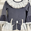 Thumbnail: Girls Floral vintage Blue Frill Lace Ivory Dress