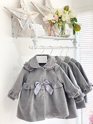 Girls Hooded Bow coat with frill detail - GREY