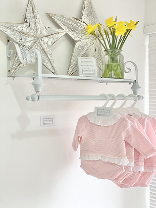 Baby Girls waffle  Knit jam pant Set - BABY PINK
