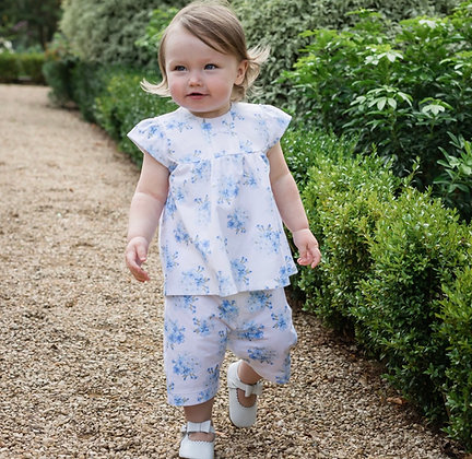 Emile et Rose -Willow Blue Floral Shorts Set and Headband