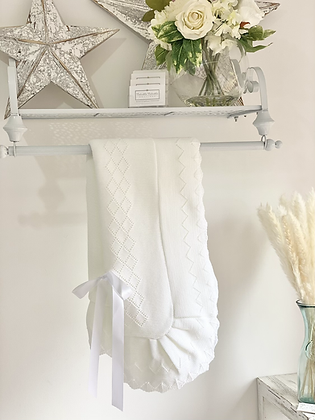 Baby Spanish shawl/Blanket - WHITE