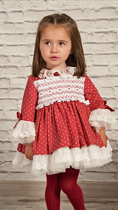 Sonata Puffball Smock Dress -Red