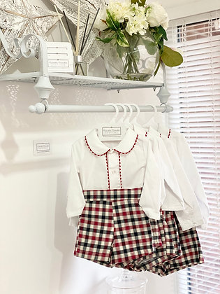 Boys Red & Navy Check Outfit 3m -36m