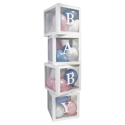 Boy OR Girl Baby Decorations Transparent Cardboard Box with Balloons included