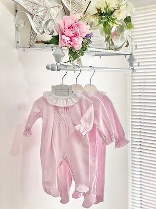 Baby girls Smocked Pink Babygrow with White detail