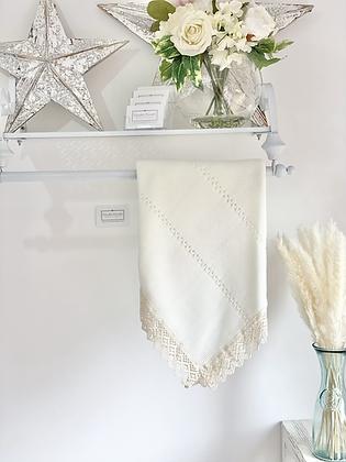 Baby Spanish Lace Trim Shawl/Blanket - CREAM