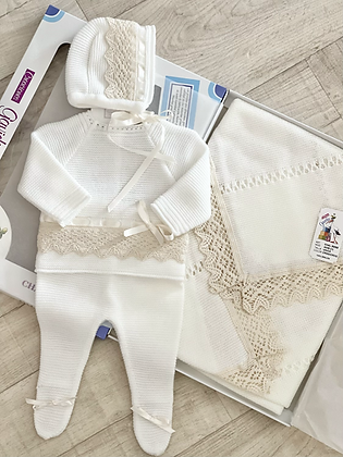 Coming Home Set  Shawl & Newborn Outfit  - CREAM