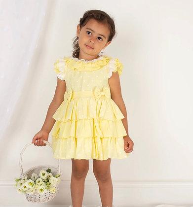 Caramelo - Girls Lemon Ra Ra Dress & Matching Hair Clip