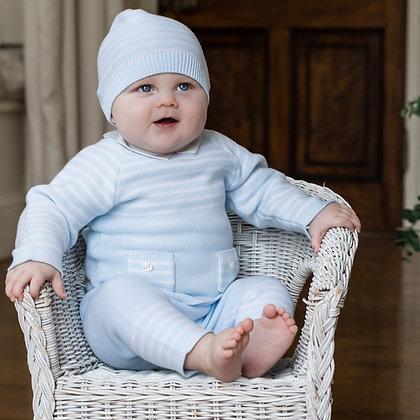 Emile et Rose- Blue Stripe Knit Outfit with Hat