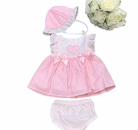 Pink Heart Stripe 3 piece Dress Set