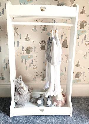 Wooden MDF HEART Children's Clothes Stand- White