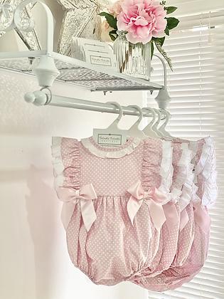 Baby Girls Polka Dot Pink Romper