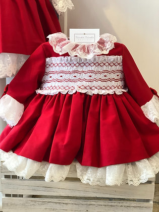 Sonata - Smocked Puffball Lace Dress Red