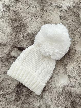 Unisex Baby Knit Pom Pom Hat - WHITE