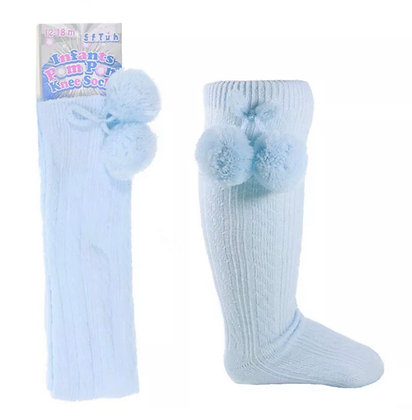 Baby Boys Pom Pom Socks - BABY BLUE