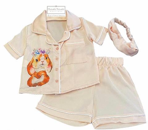 Satin Bunny 3 Piece Pyjamas Pj Set with headband  - PINK