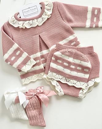 Jam pant set with Hat  3 piece Knit Set -DUSKY PINK