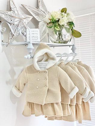 Baby Girls Knit Beige & Cream Coat & Dress 2 piece set