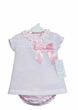 CopyWeeme - Girls  Pink Dress set With Ribbon slot Detail
