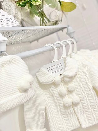 Pom Pom knit Coat & Hat  - IVORY