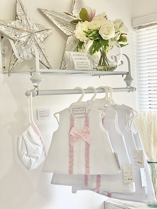 Baby Girls 2 piece Dress Set - WHITE/PINK