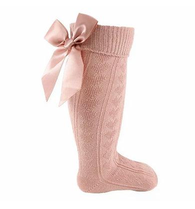 Bow knee high socks - DUSKY PINK